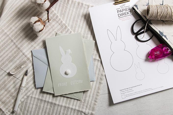 DIY Osterkarte auf Büttenpapier mit Schablone für Kinder