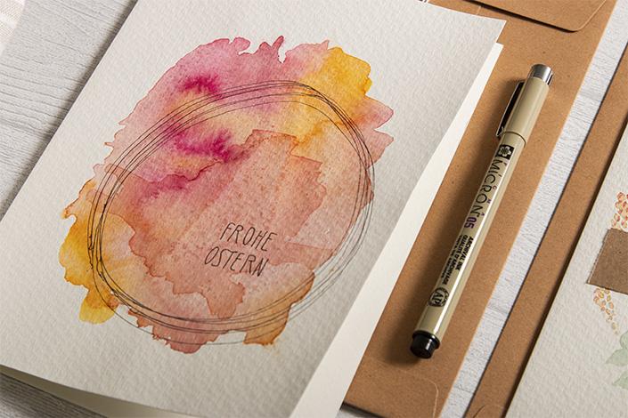 Osterkarten DIY mit Aquarellmalerei auf Karten aus Aquarellpapier