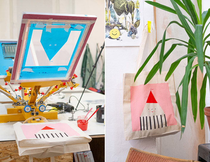 Siebdruck Produkte aus dem Atelier Jakob und Tatze
