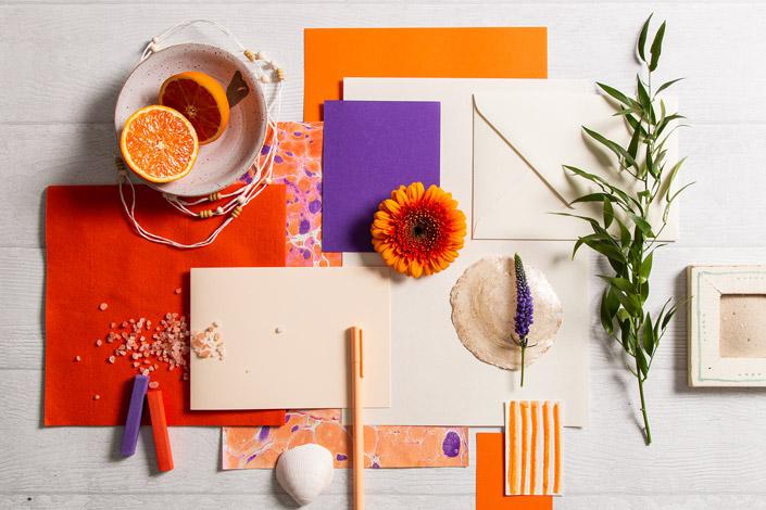Crush Citrus mit orange-lila Marmorierung in sommerlichem Farbenmix