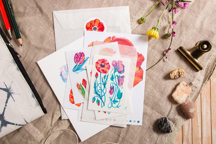 Temporary Tatoos und Sticker mit Botanical Drawings von Elke Hanisch
