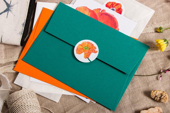 Sticker mit Botanical Drawing mit passenden Colorplan Umschlägen