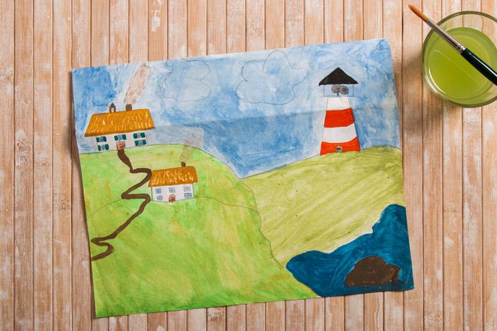 Wasserfarben Malerei der Nordseeküste mit Leuchtturm.