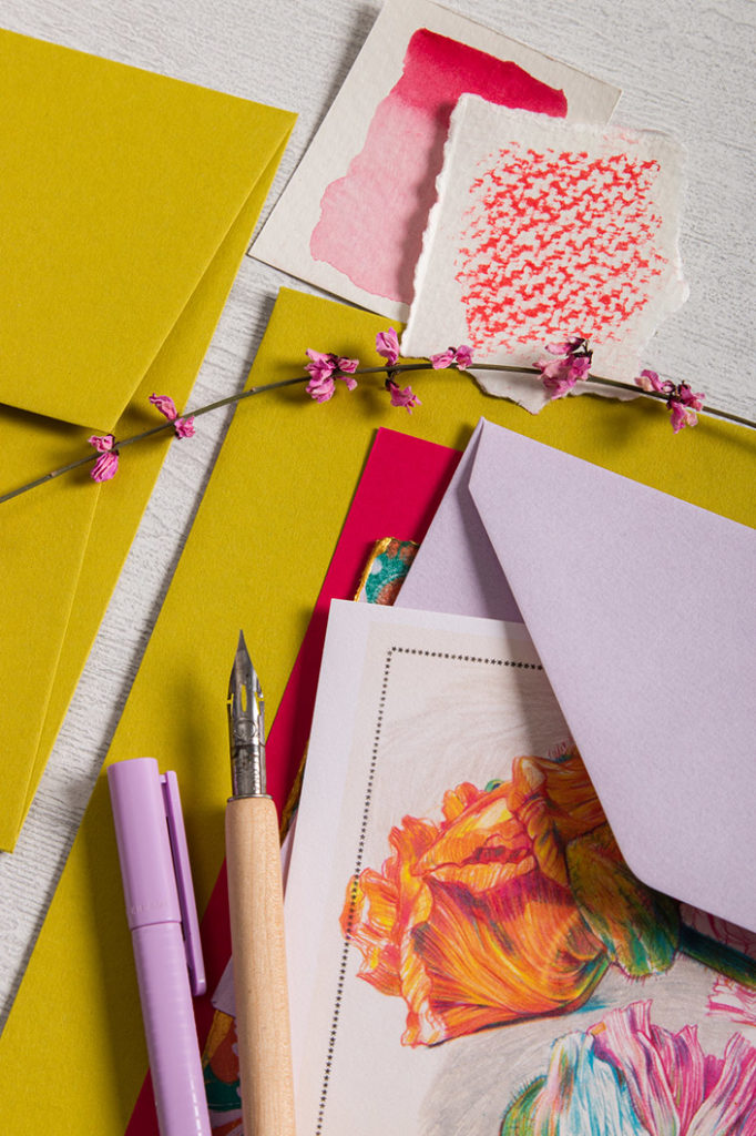 Detailansicht aus der Frühlingspapeterie um Colorplan Kiwigrün