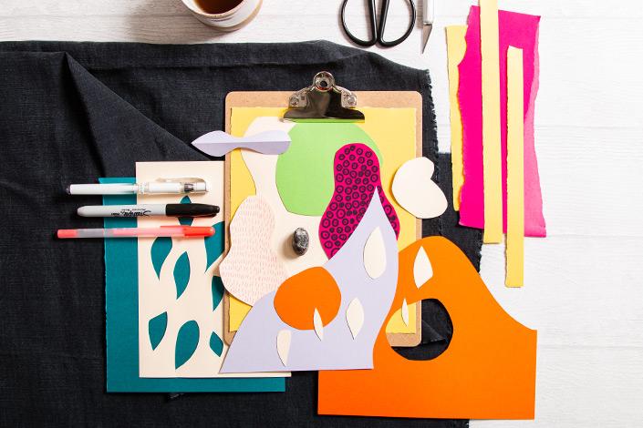 Collage aus Hot Colors Papieren