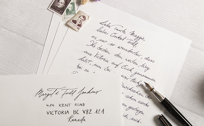 Handgeschriebener Brief auf Old Mill Briefpapier