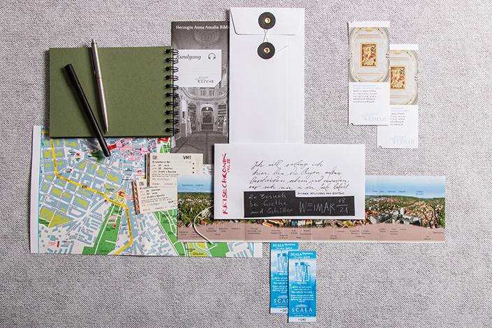 Flatlay verschiedener Andenken aus Papier an eine Reise. Die Bindfadenhülle dient als Aufbewahrungsort.
